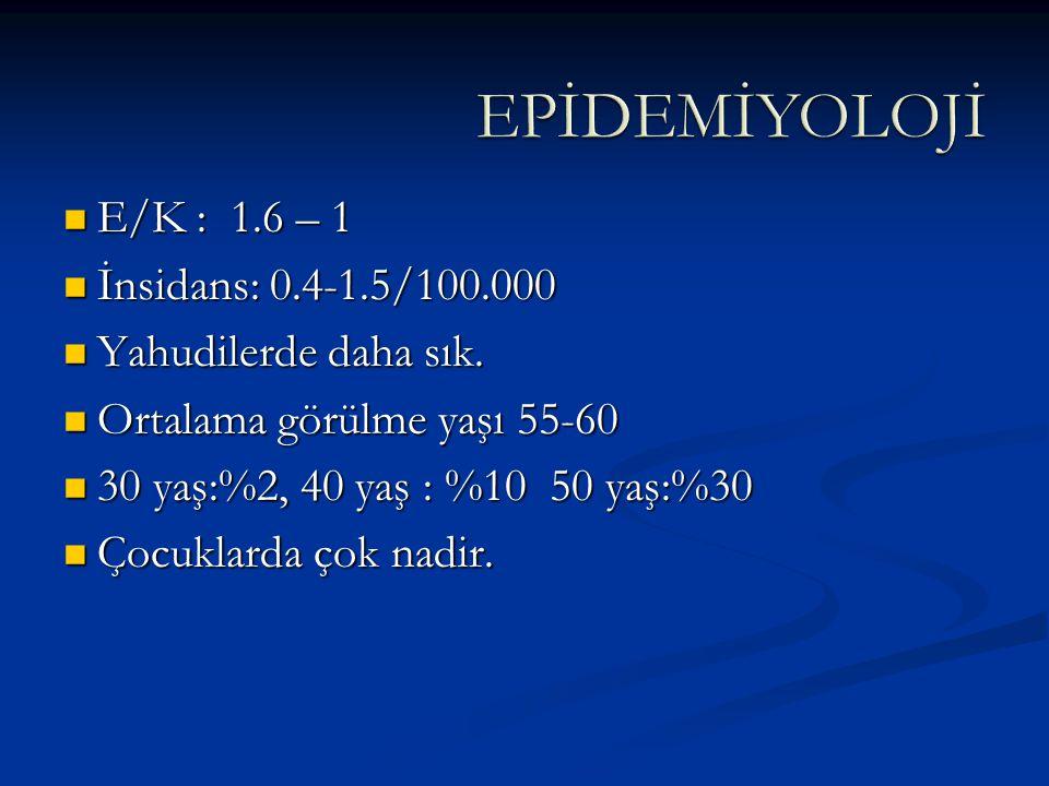 E/K : 1.6 – 1 E/K : 1.6 – 1 İnsidans: 0.4-1.5/100.000 İnsidans: 0.4-1.5/100.000 Yahudilerde daha sık. Yahudilerde daha sık. Ortalama görülme yaşı 55-6