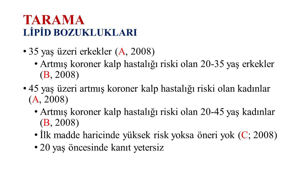 TARAMA LİPİD BOZUKLUKLARI 35 yaş üzeri erkekler (A, 2008) Artmış koroner kalp hastalığı riski olan 20-35 yaş erkekler (B, 2008) 45 yaş üzeri artmış ko