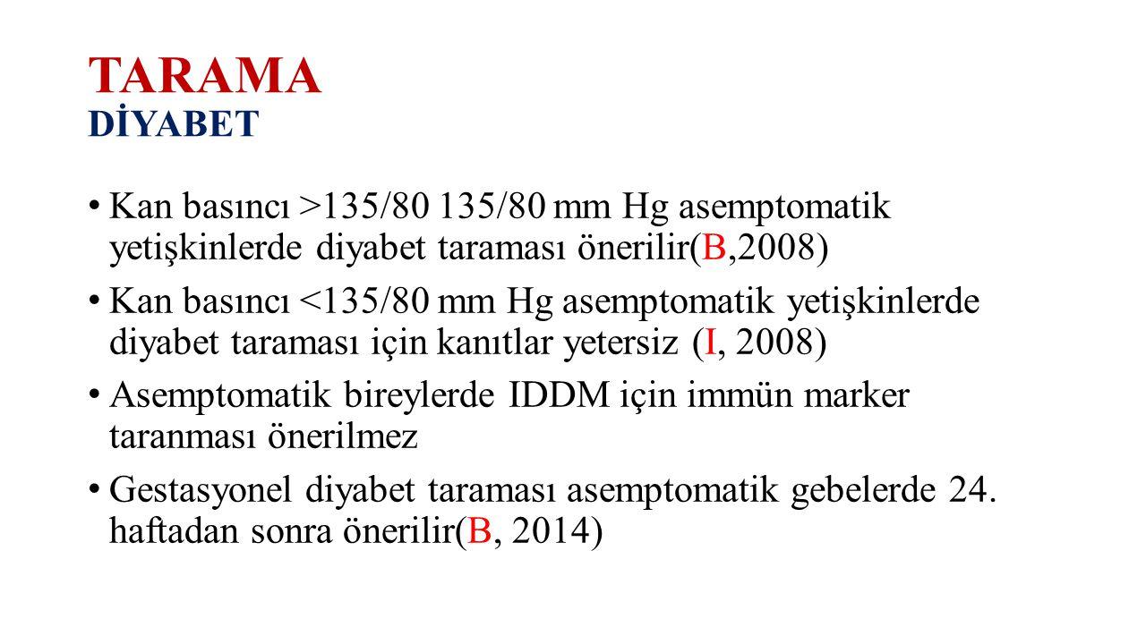 TARAMA DİYABET Kan basıncı >135/80 135/80 mm Hg asemptomatik yetişkinlerde diyabet taraması önerilir(B,2008) Kan basıncı <135/80 mm Hg asemptomatik ye