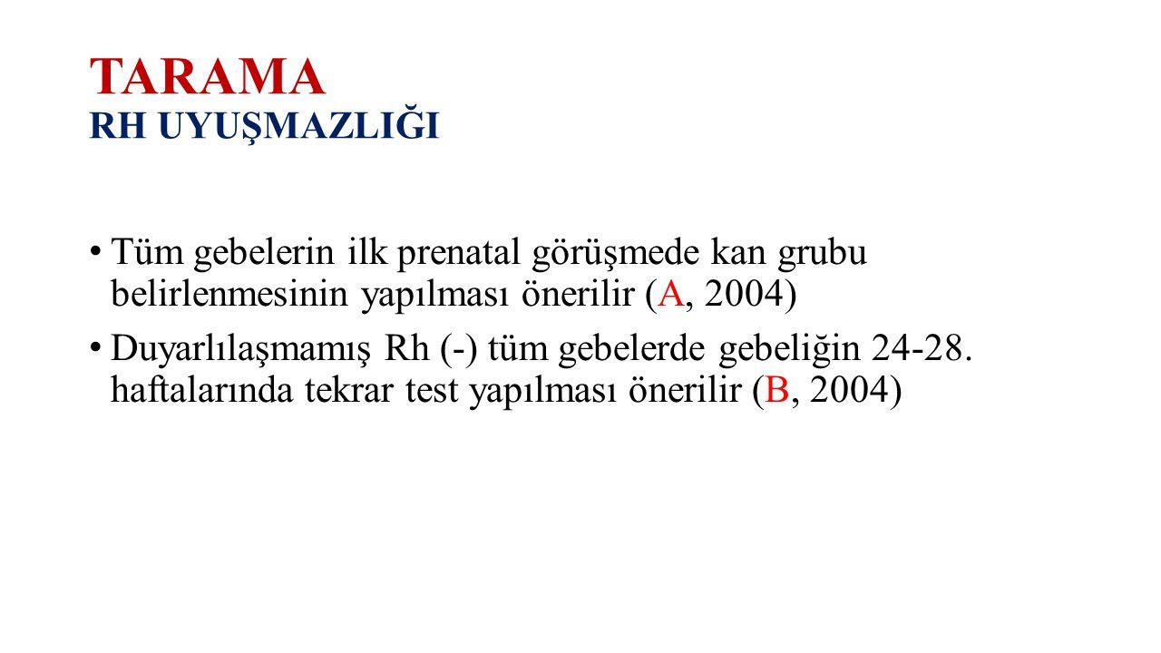 TARAMA RH UYUŞMAZLIĞI Tüm gebelerin ilk prenatal görüşmede kan grubu belirlenmesinin yapılması önerilir (A, 2004) Duyarlılaşmamış Rh (-) tüm gebelerde