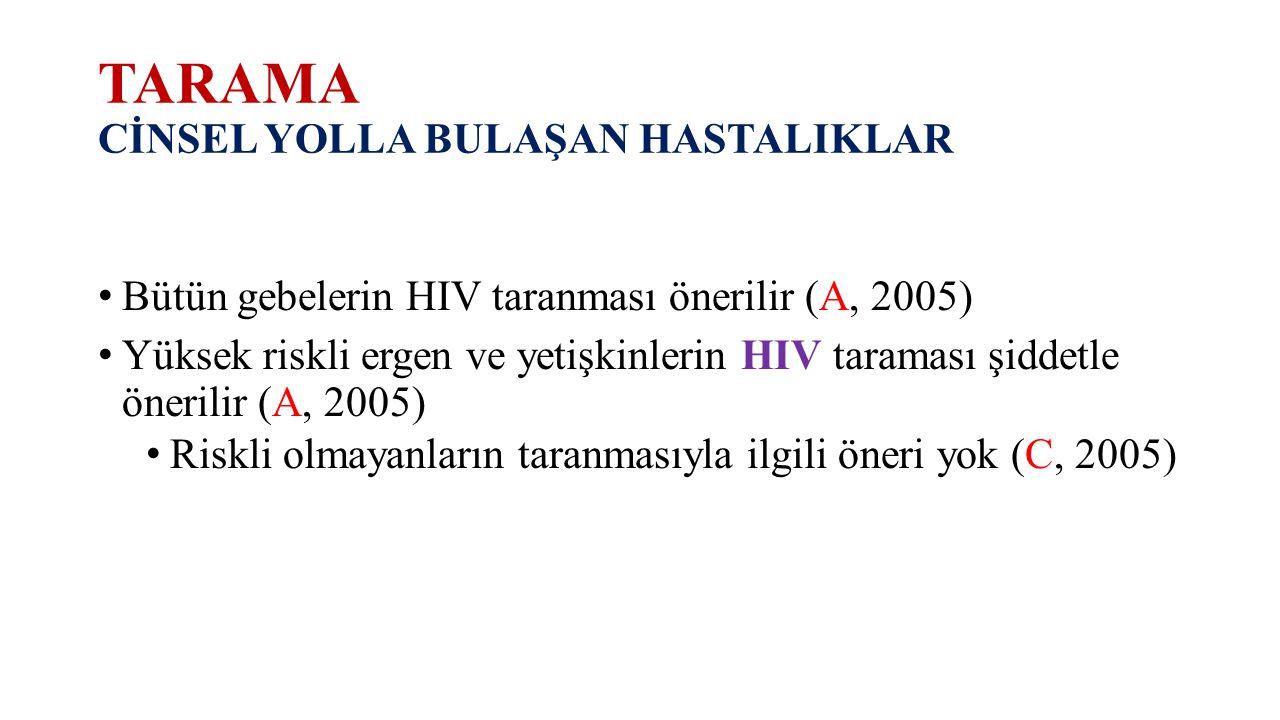 TARAMA CİNSEL YOLLA BULAŞAN HASTALIKLAR Bütün gebelerin HIV taranması önerilir (A, 2005) Yüksek riskli ergen ve yetişkinlerin HIV taraması şiddetle ön