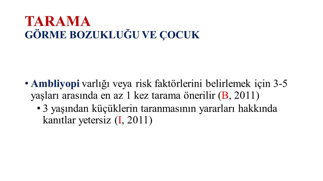 TARAMA GÖRME BOZUKLUĞU VE ÇOCUK Ambliyopi varlığı veya risk faktörlerini belirlemek için 3-5 yaşları arasında en az 1 kez tarama önerilir (B, 2011) 3