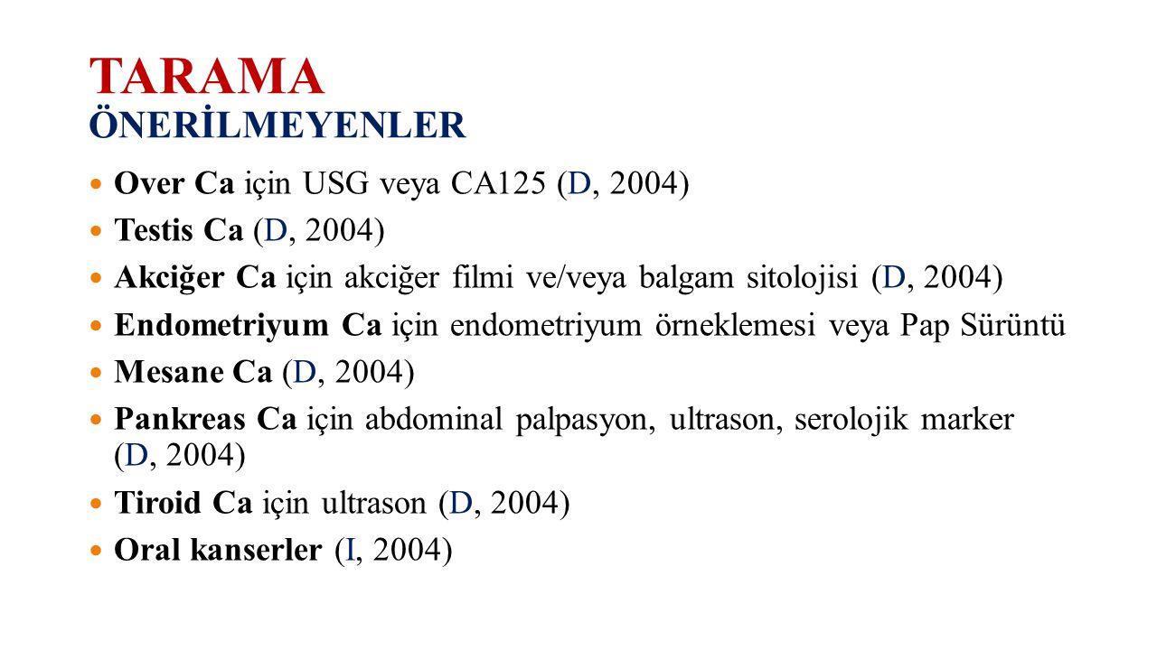 TARAMA ÖNERİLMEYENLER Over Ca için USG veya CA125 (D, 2004) Testis Ca (D, 2004) Akciğer Ca için akciğer filmi ve/veya balgam sitolojisi (D, 2004) Endo