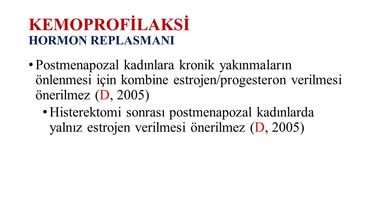 KEMOPROFİLAKSİ HORMON REPLASMANI Postmenapozal kadınlara kronik yakınmaların önlenmesi için kombine estrojen/progesteron verilmesi önerilmez (D, 2005)