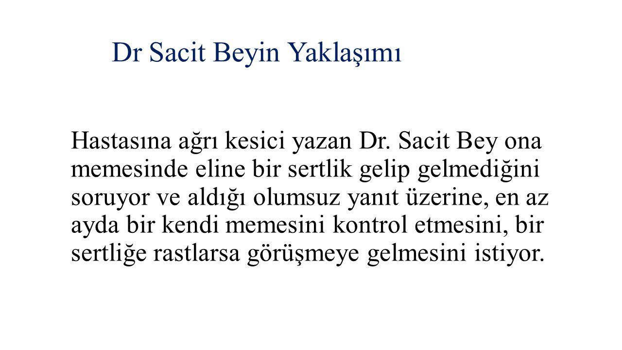 Dr Sacit Beyin Yaklaşımı Hastasına ağrı kesici yazan Dr. Sacit Bey ona memesinde eline bir sertlik gelip gelmediğini soruyor ve aldığı olumsuz yanıt ü