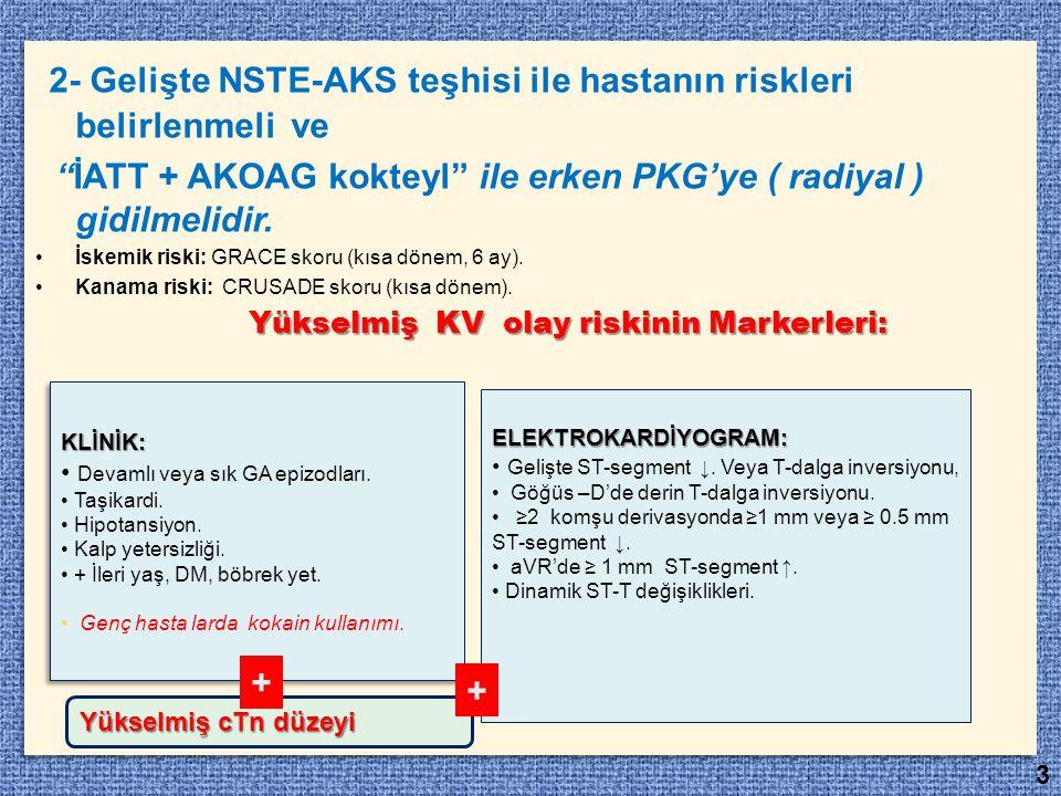 """2- Gelişte NSTE-AKS teşhisi ile hastanın riskleri belirlenmeli ve """"İATT + AKOAG kokteyl"""" ile erken PKG'ye ( radiyal ) gidilmelidir. İskemik riski: GRA"""