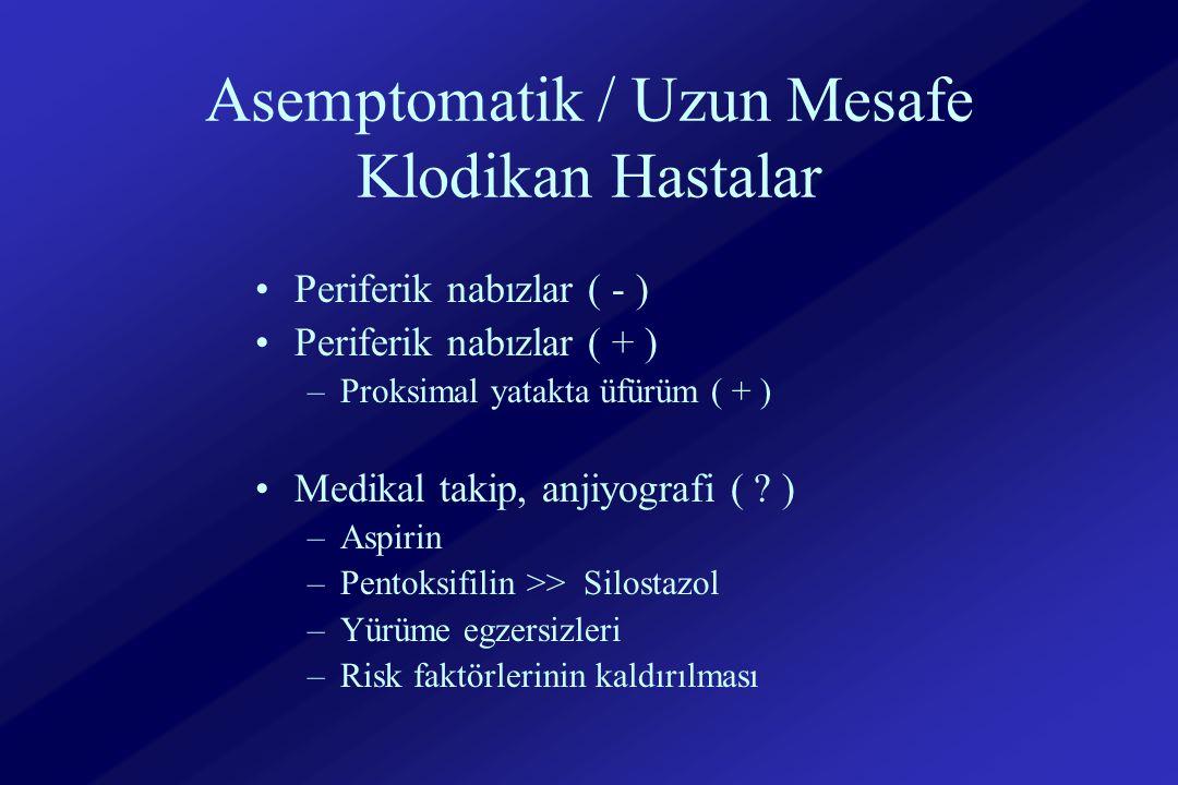 Asemptomatik / Uzun Mesafe Klodikan Hastalar Periferik nabızlar ( - ) Periferik nabızlar ( + ) –Proksimal yatakta üfürüm ( + ) Medikal takip, anjiyografi ( .