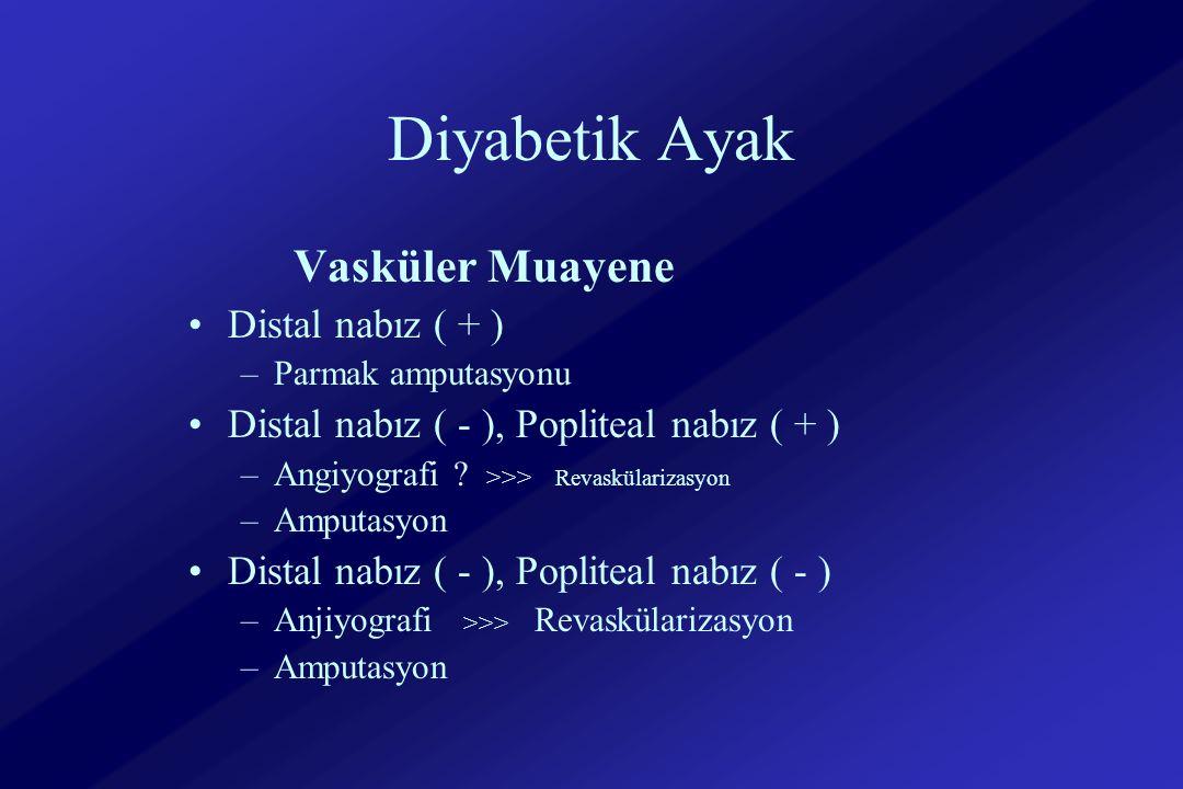 Diyabetik Ayak Vasküler Muayene Distal nabız ( + ) –Parmak amputasyonu Distal nabız ( - ), Popliteal nabız ( + ) –Angiyografi .