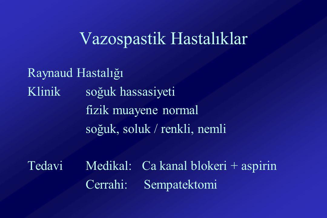 Vazospastik Hastalıklar Raynaud Hastalığı Kliniksoğuk hassasiyeti fizik muayene normal soğuk, soluk / renkli, nemli Tedavi Medikal: Ca kanal blokeri + aspirin Cerrahi:Sempatektomi