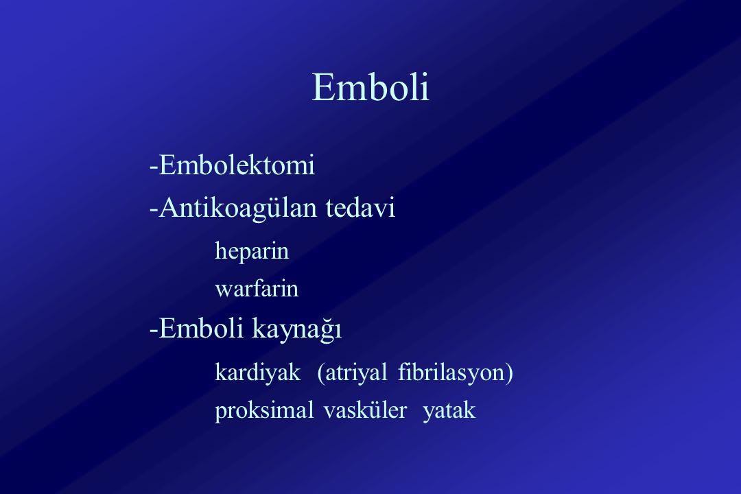 Emboli -Embolektomi -Antikoagülan tedavi heparin warfarin -Emboli kaynağı kardiyak (atriyal fibrilasyon) proksimal vasküler yatak