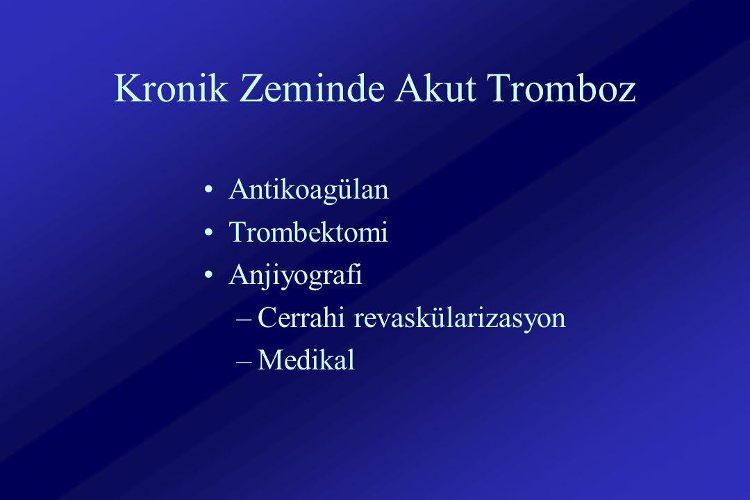 Kronik Zeminde Akut Tromboz Antikoagülan Trombektomi Anjiyografi –Cerrahi revaskülarizasyon –Medikal