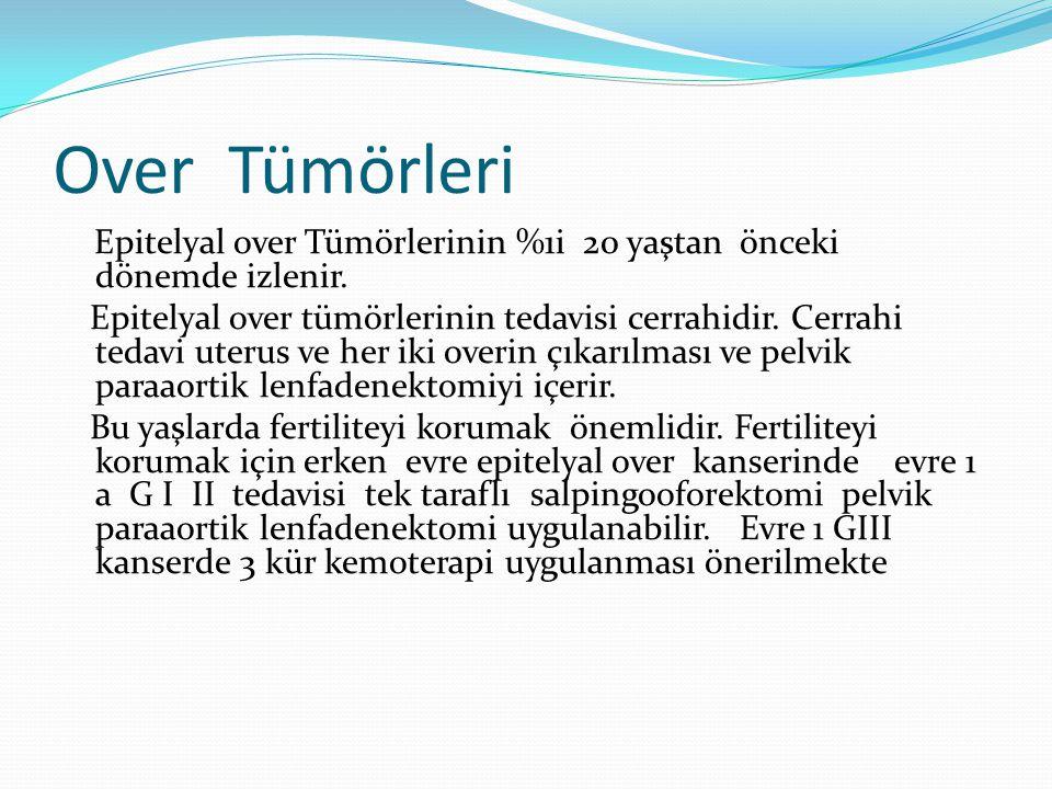 Disgerminom Tedavi  Evre 1a ise USO +diğer overi değerlendirme+cerrahi evreleme Metastatik hastalık yok ise ilk 12 ayda 2 ayda 1 FM.