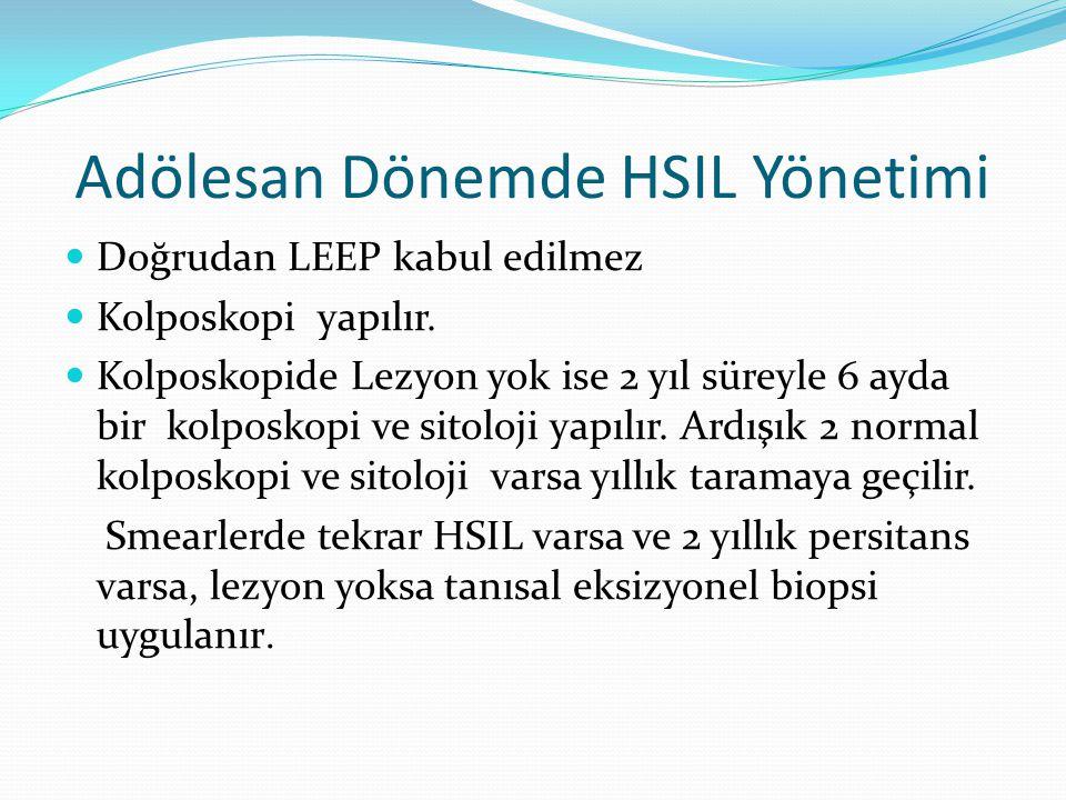 Adölesan Dönemde HSIL Yönetimi Doğrudan LEEP kabul edilmez Kolposkopi yapılır.