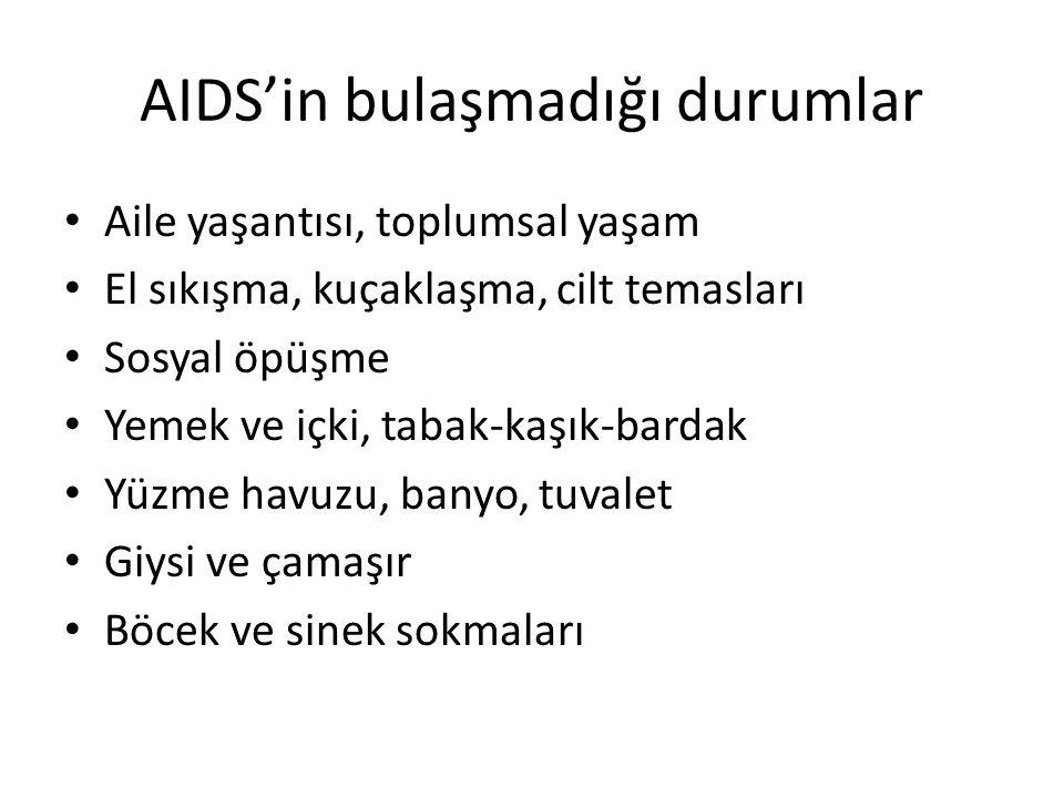 AIDS'in bulaşmadığı durumlar Aile yaşantısı, toplumsal yaşam El sıkışma, kuçaklaşma, cilt temasları Sosyal öpüşme Yemek ve içki, tabak-kaşık-bardak Yü