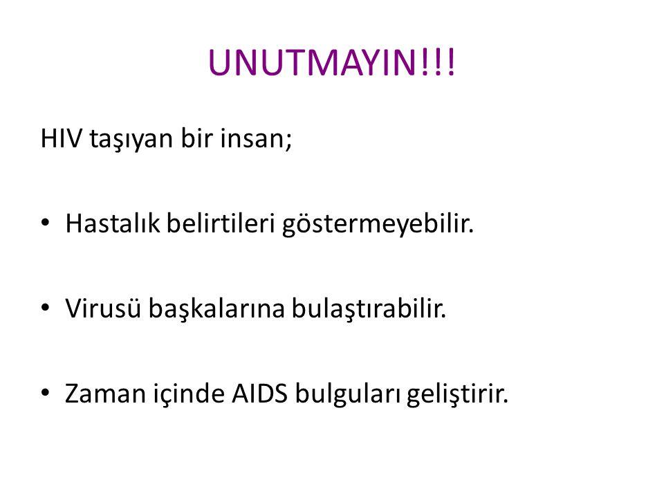 UNUTMAYIN!!! HIV taşıyan bir insan; Hastalık belirtileri göstermeyebilir. Virusü başkalarına bulaştırabilir. Zaman içinde AIDS bulguları geliştirir.