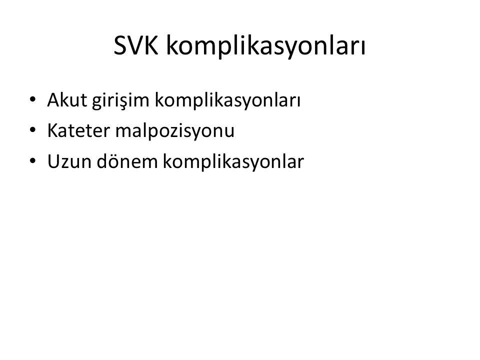 SVK komplikasyonları Akut girişim komplikasyonları Kateter malpozisyonu Uzun dönem komplikasyonlar