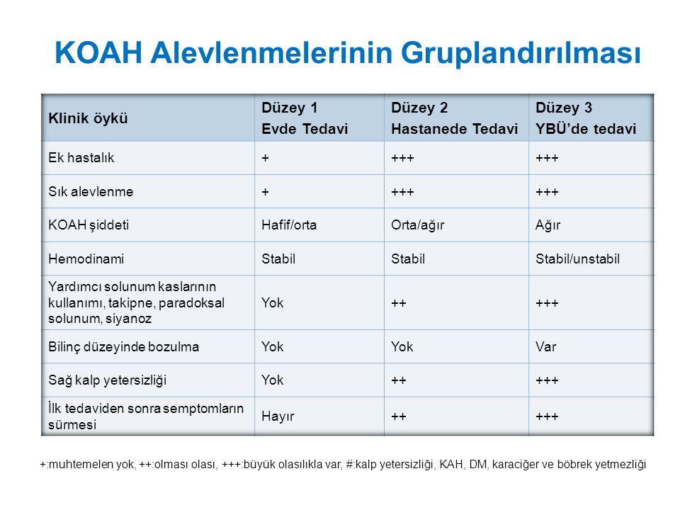 KOAH Alevlenmelerinin Gruplandırılması +:muhtemelen yok, ++:olması olası, +++:büyük olasılıkla var, #:kalp yetersizliği, KAH, DM, karaciğer ve böbrek yetmezliği