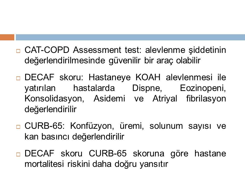  CAT-COPD Assessment test: alevlenme şiddetinin değerlendirilmesinde güvenilir bir araç olabilir  DECAF skoru: Hastaneye KOAH alevlenmesi ile yatırılan hastalarda Dispne, Eozinopeni, Konsolidasyon, Asidemi ve Atriyal fibrilasyon değerlendirilir  CURB-65: Konfüzyon, üremi, solunum sayısı ve kan basıncı değerlendirilir  DECAF skoru CURB-65 skoruna göre hastane mortalitesi riskini daha doğru yansıtır