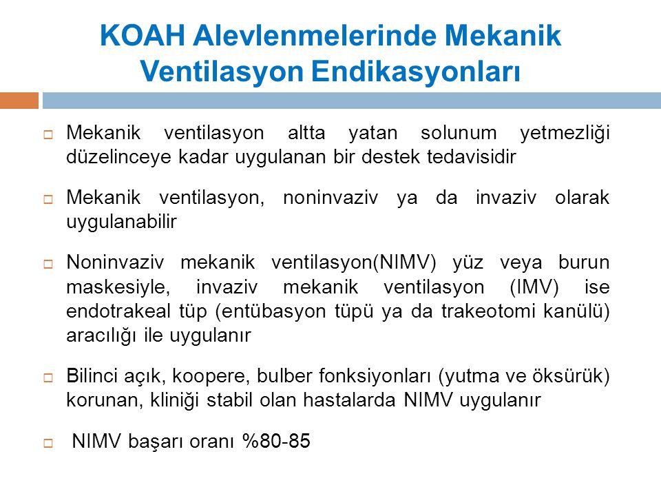 KOAH Alevlenmelerinde Mekanik Ventilasyon Endikasyonları  Mekanik ventilasyon altta yatan solunum yetmezliği düzelinceye kadar uygulanan bir destek tedavisidir  Mekanik ventilasyon, noninvaziv ya da invaziv olarak uygulanabilir  Noninvaziv mekanik ventilasyon(NIMV) yüz veya burun maskesiyle, invaziv mekanik ventilasyon (IMV) ise endotrakeal tüp (entübasyon tüpü ya da trakeotomi kanülü) aracılığı ile uygulanır  Bilinci açık, koopere, bulber fonksiyonları (yutma ve öksürük) korunan, kliniği stabil olan hastalarda NIMV uygulanır  NIMV başarı oranı %80-85