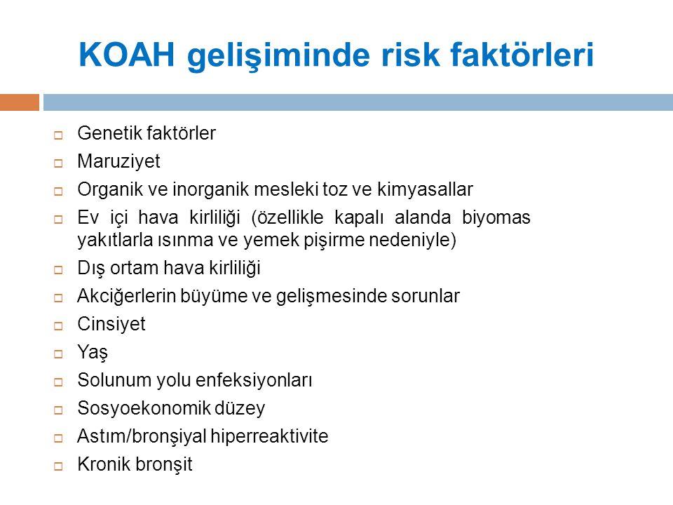 A grubu : Düşük Risk, Az Semptom  GOLD 1 veya 2 (hafif veya orta derecede hava akım kısıtlanması), ve/veya 0-1 alevlenme /yıl ve alevlenmeye bağlı hastaneye yatış yok, CAT <10 veya mMRC 0-1 B grubu : Düşük Risk, Fazla Semptom  GOLD 1 veya 2 (hafif veya orta derecede hava akım kısıtlanması), ve/veya 0-1 alevlenme /yıl veya hastaneye yatışa neden olan alevlenme yok, CAT ≥10 veya mMRC≥2 C grubu : Yüksek Risk, Az Semptom  GOLD 3 veya 4 (ağır veya çok ağır hava akım kısıtlanması), ve/veya ≥2 alevlenme yıl veya ≥1 hastaneye yatışa neden olan alevlenme, CAT <10 veya mMRC 0-1.