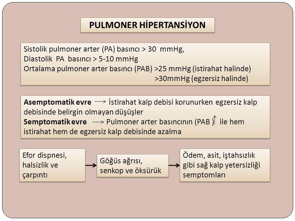 PULMONER HİPERTANSİYON Sistolik pulmoner arter (PA) basıncı > 30 mmHg, Diastolik PA basıncı > 5-10 mmHg Ortalama pulmoner arter basıncı (PAB) >25 mmHg