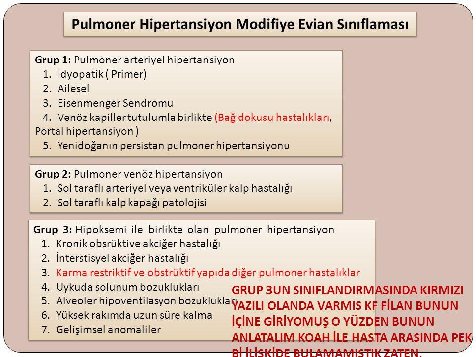 Pulmoner Hipertansiyon Modifiye Evian Sınıflaması Grup 1: Pulmoner arteriyel hipertansiyon 1. İdyopatik ( Primer) 2. Ailesel 3. Eisenmenger Sendromu 4