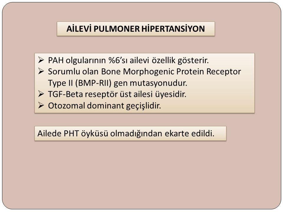  PAH olgularının %6'sı ailevi özellik gösterir.  Sorumlu olan Bone Morphogenic Protein Receptor Type II (BMP-RII) gen mutasyonudur.  TGF-Beta resep