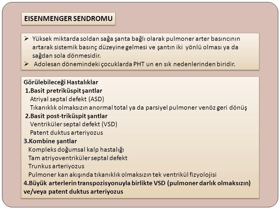 Görülebileceği Hastalıklar 1.Basit pretriküspit şantlar Atriyal septal defekt (ASD) Tıkanıklık olmaksızın anormal total ya da parsiyel pulmoner venöz