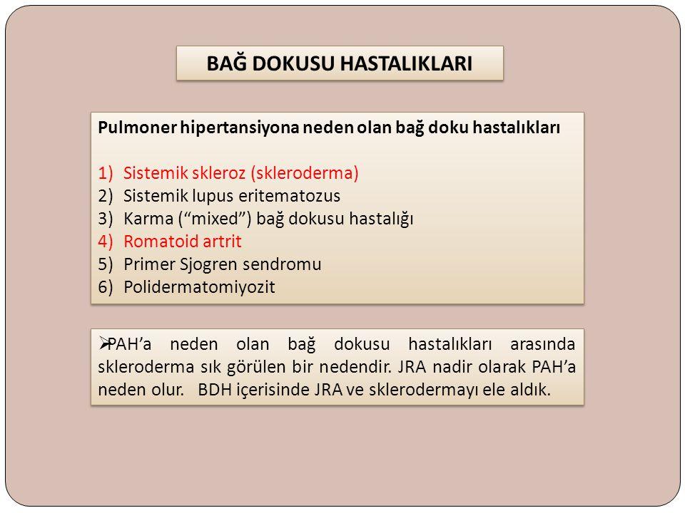 """Pulmoner hipertansiyona neden olan bağ doku hastalıkları 1)Sistemik skleroz (skleroderma) 2)Sistemik lupus eritematozus 3)Karma (""""mixed"""") bağ dokusu h"""