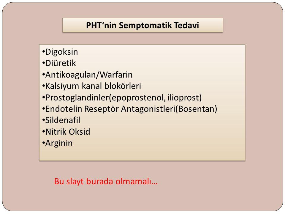 Digoksin Diüretik Antikoagulan/Warfarin Kalsiyum kanal blokörleri Prostoglandinler(epoprostenol, ilioprost) Endotelin Reseptör Antagonistleri(Bosentan