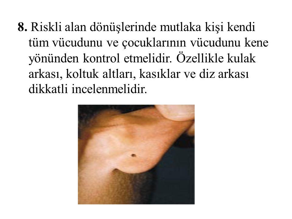 8. Riskli alan dönüşlerinde mutlaka kişi kendi tüm vücudunu ve çocuklarının vücudunu kene yönünden kontrol etmelidir. Özellikle kulak arkası, koltuk a