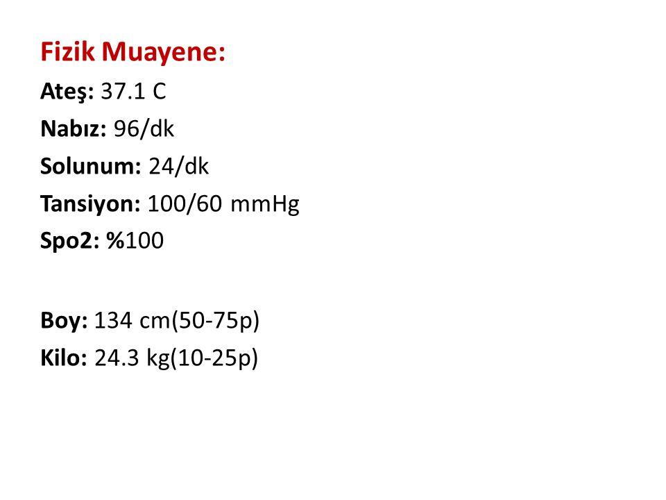 Fizik Muayene: Ateş: 37.1 C Nabız: 96/dk Solunum: 24/dk Tansiyon: 100/60 mmHg Spo2: %100 Boy: 134 cm(50-75p) Kilo: 24.3 kg(10-25p)