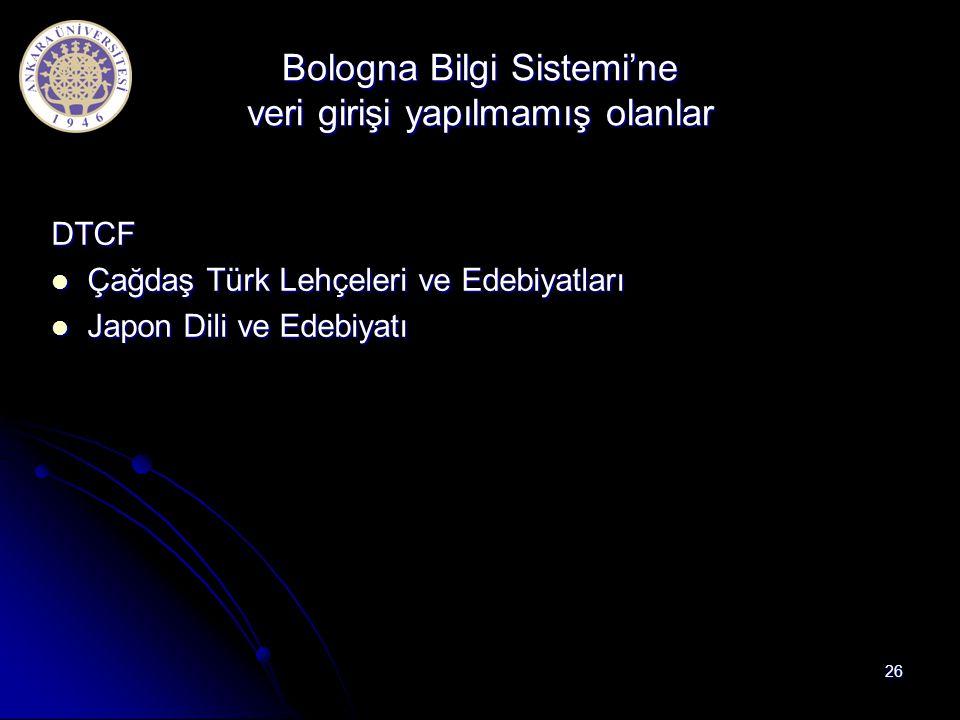 Bologna Bilgi Sistemi'ne veri girişi yapılmamış olanlar DTCF Çağdaş Türk Lehçeleri ve Edebiyatları Çağdaş Türk Lehçeleri ve Edebiyatları Japon Dili ve