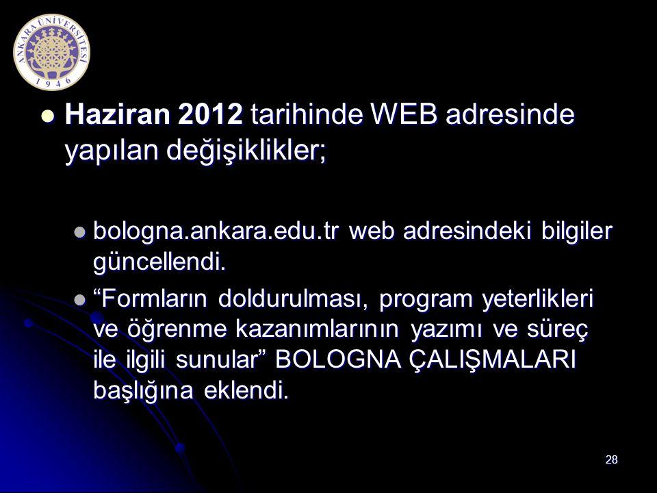 Haziran 2012 tarihinde WEB adresinde yapılan değişiklikler; Haziran 2012 tarihinde WEB adresinde yapılan değişiklikler; bologna.ankara.edu.tr web adre