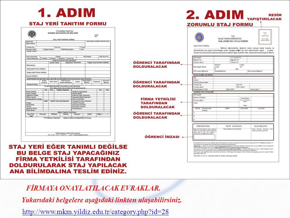 Yukarıdaki belgelere aşağıdaki linkten ulaşabilirsiniz. http://www.mkm.yildiz.edu.tr/category.php?id=28 FİRMAYA ONAYLATILACAK EVRAKLAR.