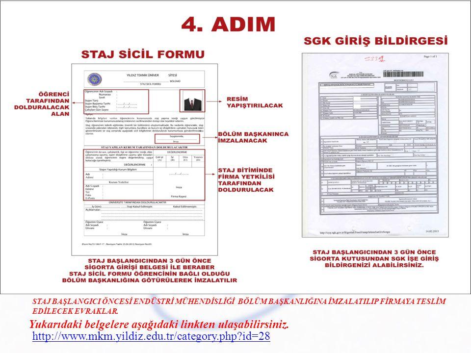 Yukarıdaki belgelere aşağıdaki linkten ulaşabilirsiniz. http://www.mkm.yildiz.edu.tr/category.php?id=28 STAJ BAŞLANGICI ÖNCESİ ENDÜSTRİ MÜHENDİSLİĞİ B