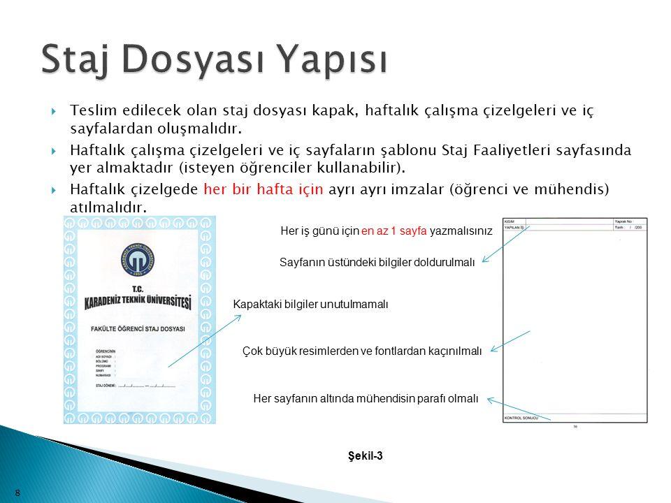  Teslim edilecek olan staj dosyası kapak, haftalık çalışma çizelgeleri ve iç sayfalardan oluşmalıdır.