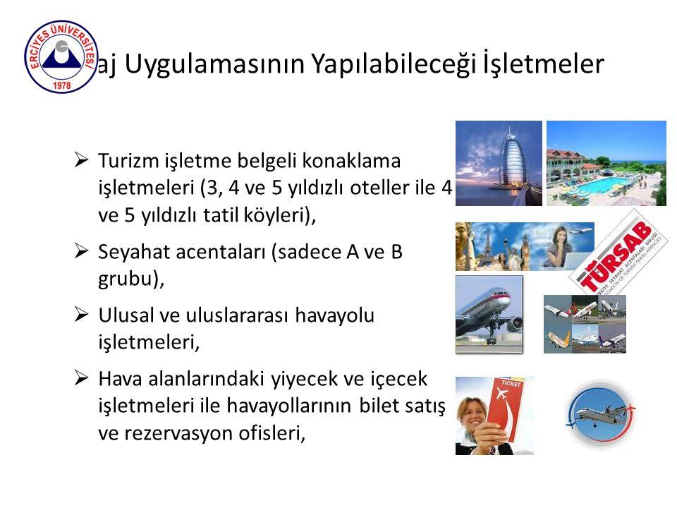 Staj Uygulamasının Yapılabileceği İşletmeler  Turizm işletme belgeli konaklama işletmeleri (3, 4 ve 5 yıldızlı oteller ile 4 ve 5 yıldızlı tatil köyl