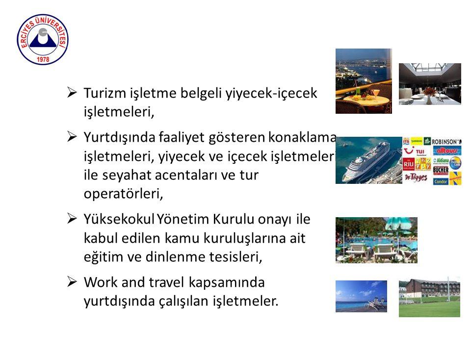 Öğrencilerin Yüksekokulda teorik olarak öğrendikleri bilgileri turizm sektöründe uygulayabilme becerilerini geliştirmeye ve iş tecrübesi edinmelerine yönelik staj yapma zorunlulukları vardır.