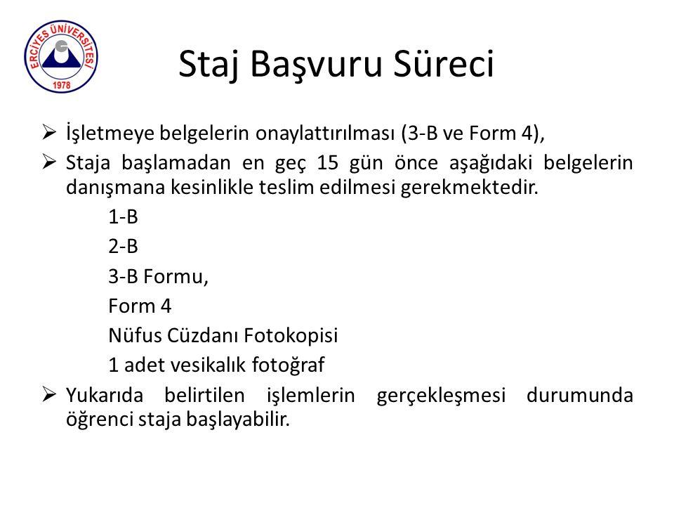 Staj Başvuru Süreci  İşletmeye belgelerin onaylattırılması (3-B ve Form 4),  Staja başlamadan en geç 15 gün önce aşağıdaki belgelerin danışmana kesi