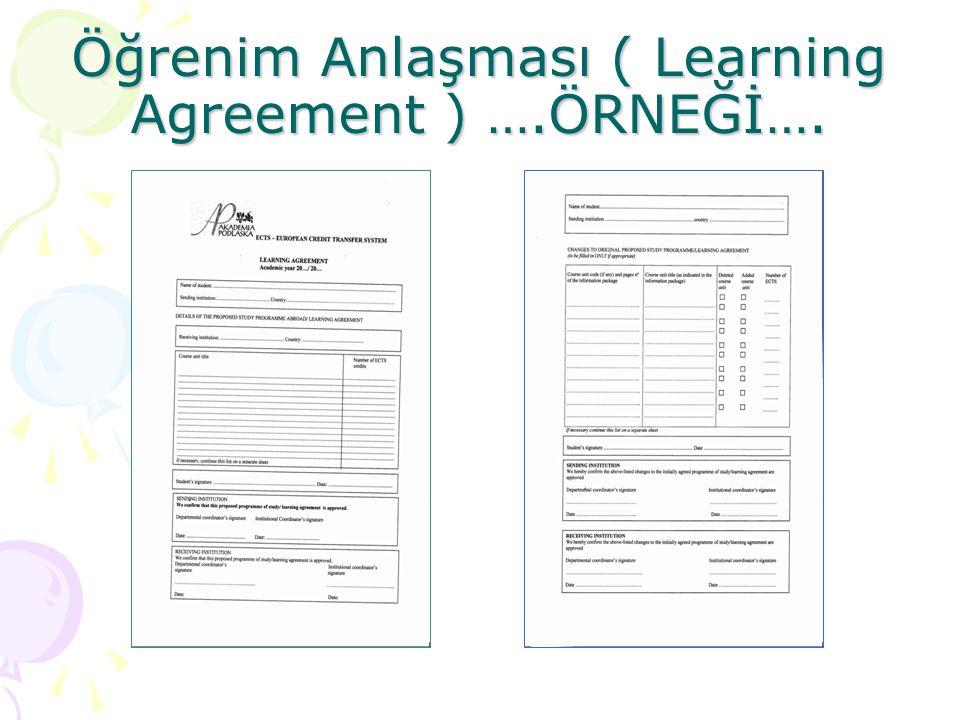 Öğrenim Anlaşması ( Learning Agreement ) ….ÖRNEĞİ….