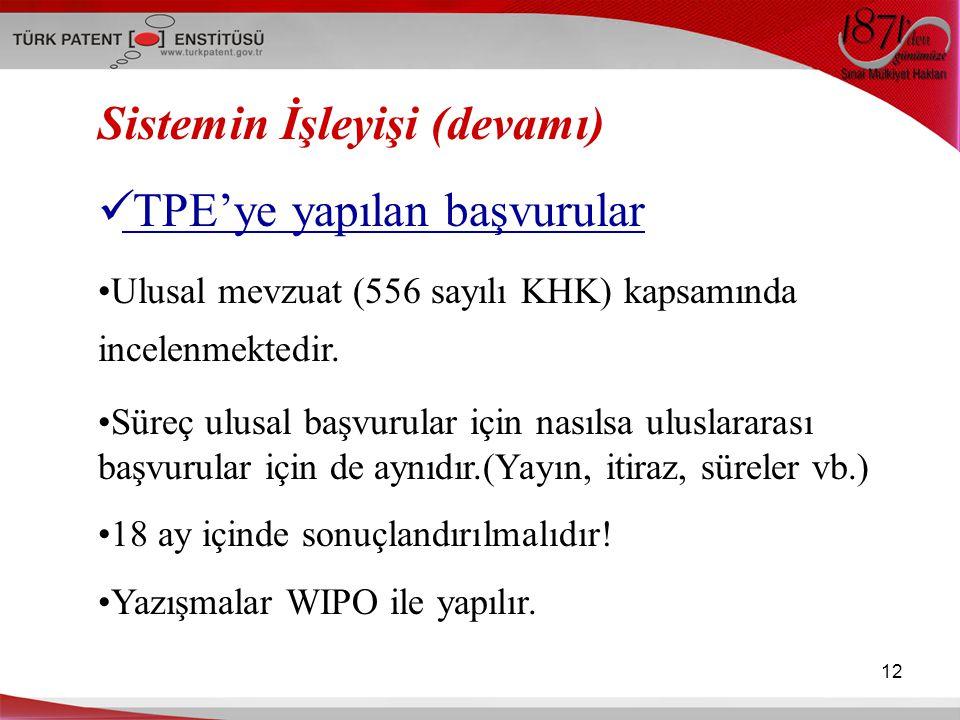 12 Sistemin İşleyişi (devamı) TPE'ye yapılan başvurular Ulusal mevzuat (556 sayılı KHK) kapsamında incelenmektedir. Süreç ulusal başvurular için nasıl