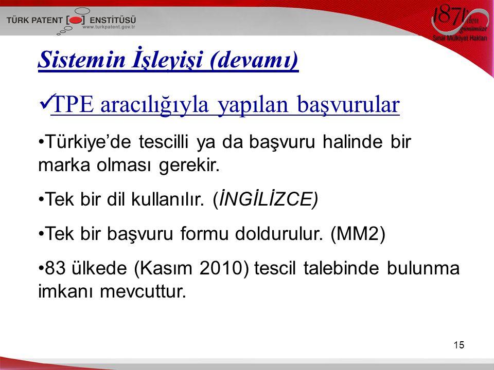 15 Sistemin İşleyişi (devamı) TPE aracılığıyla yapılan başvurular Türkiye'de tescilli ya da başvuru halinde bir marka olması gerekir. Tek bir dil kull