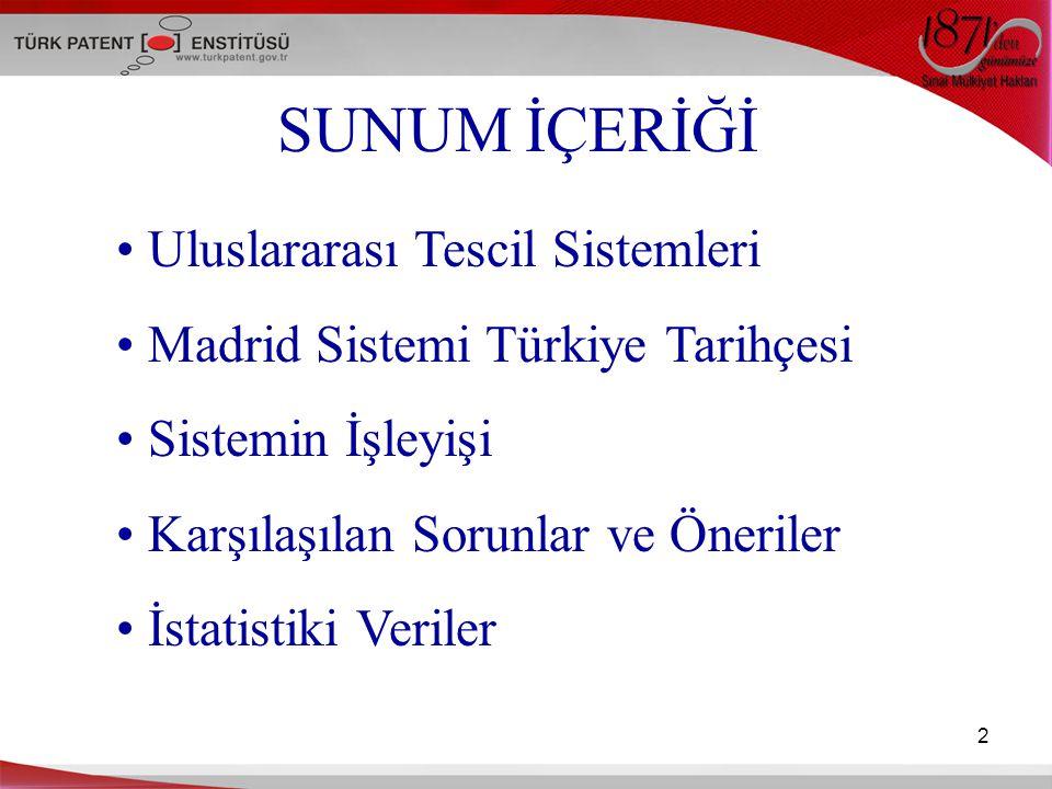 2 SUNUM İÇERİĞİ Uluslararası Tescil Sistemleri Madrid Sistemi Türkiye Tarihçesi Sistemin İşleyişi Karşılaşılan Sorunlar ve Öneriler İstatistiki Verile