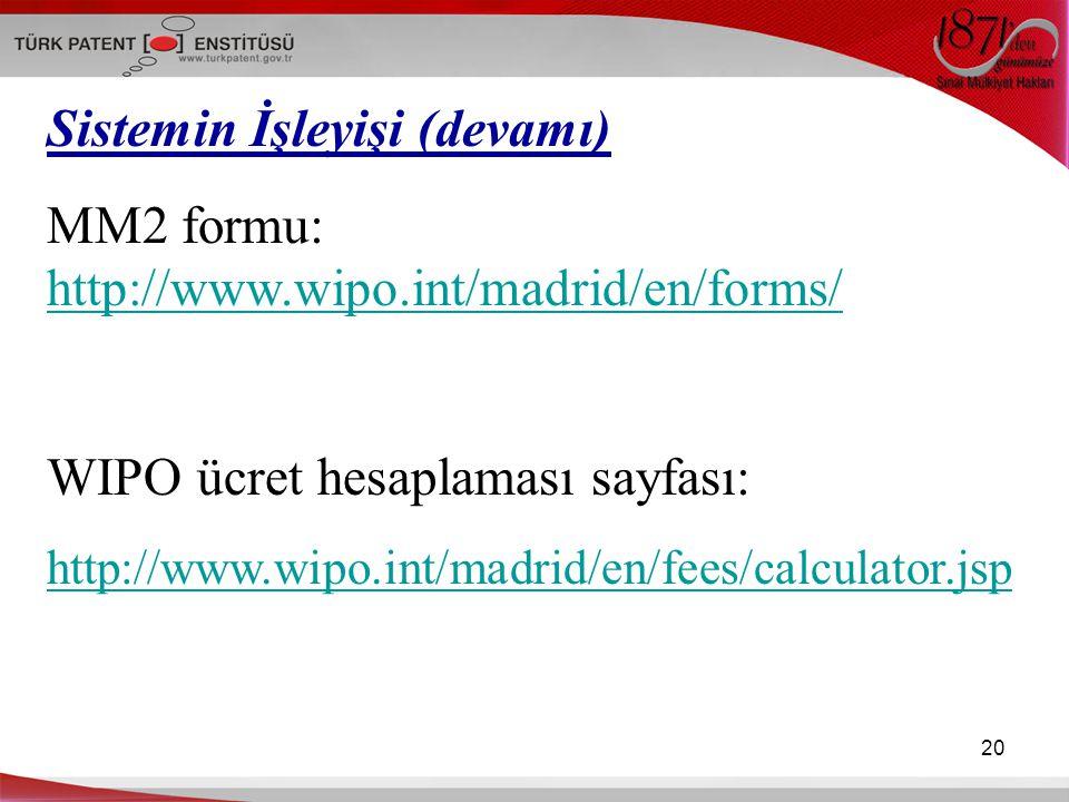 20 Sistemin İşleyişi (devamı) MM2 formu: http://www.wipo.int/madrid/en/forms/ http://www.wipo.int/madrid/en/forms/ WIPO ücret hesaplaması sayfası: htt