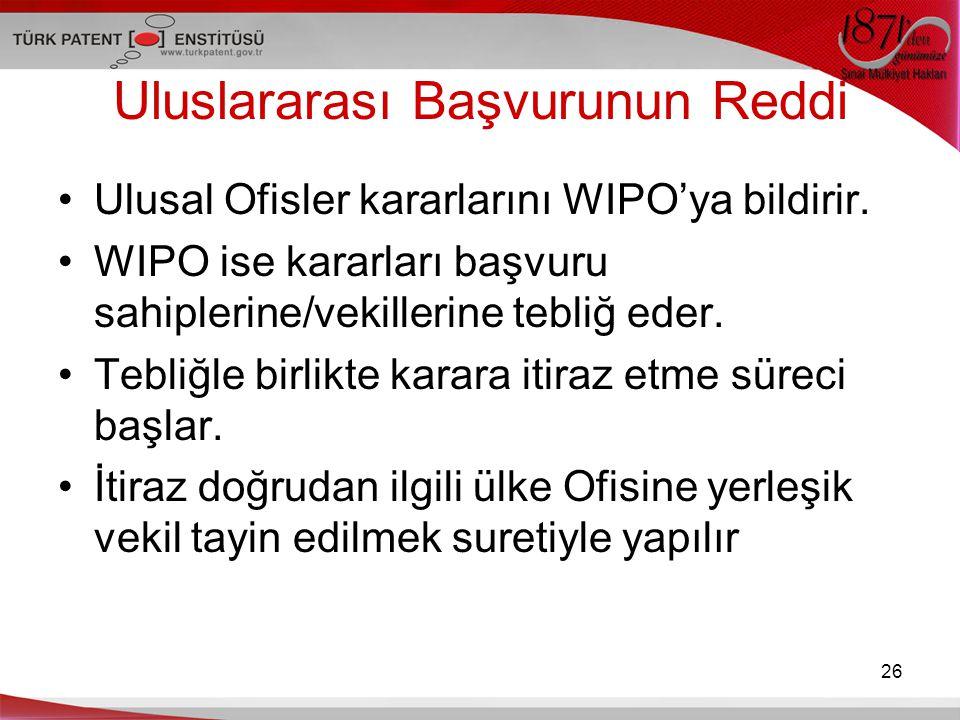 Uluslararası Başvurunun Reddi Ulusal Ofisler kararlarını WIPO'ya bildirir. WIPO ise kararları başvuru sahiplerine/vekillerine tebliğ eder. Tebliğle bi