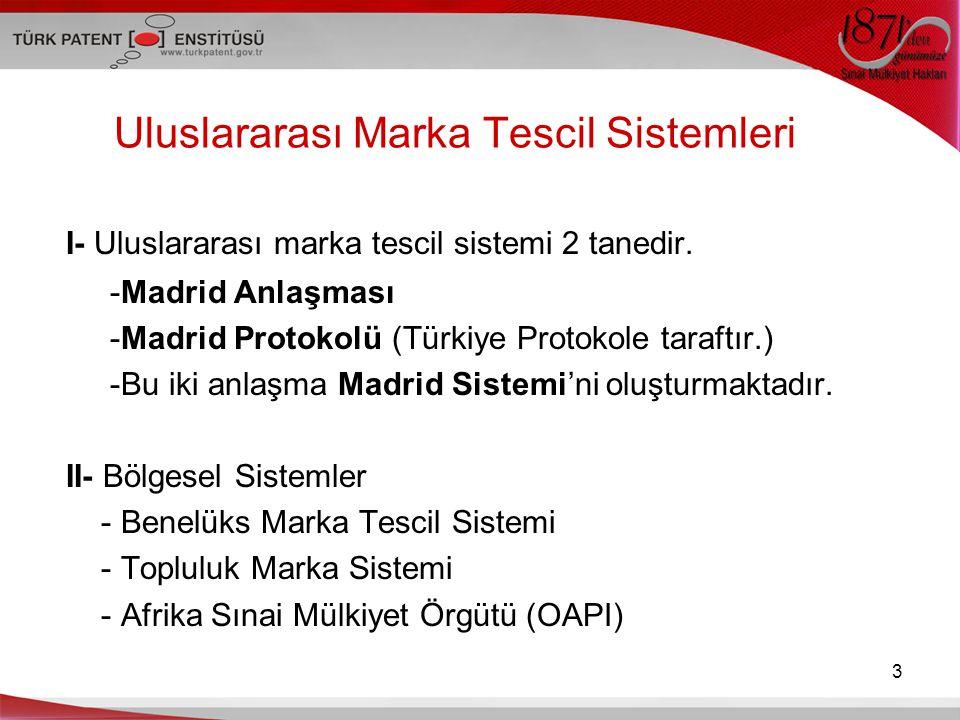 Uluslararası Marka Tescil Sistemleri I- Uluslararası marka tescil sistemi 2 tanedir. -Madrid Anlaşması -Madrid Protokolü (Türkiye Protokole taraftır.)