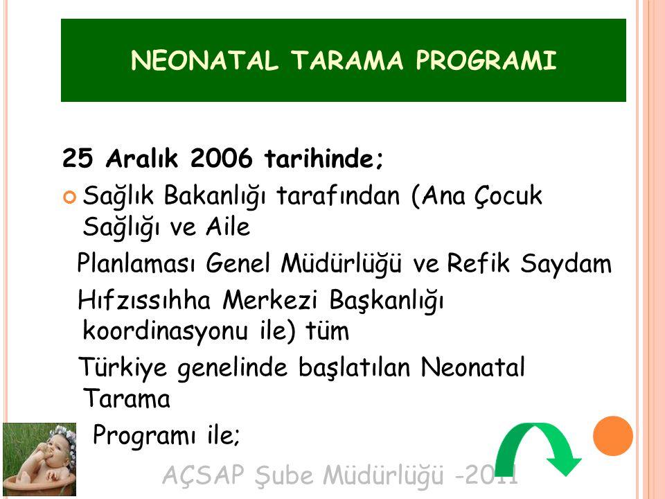AÇSAP Şube Müdürlüğü -2011 25 Aralık 2006 tarihinde; Sağlık Bakanlığı tarafından (Ana Çocuk Sağlığı ve Aile Planlaması Genel Müdürlüğü ve Refik Saydam Hıfzıssıhha Merkezi Başkanlığı koordinasyonu ile) tüm Türkiye genelinde başlatılan Neonatal Tarama Programı ile; NEONATAL TARAMA PROGRAMI
