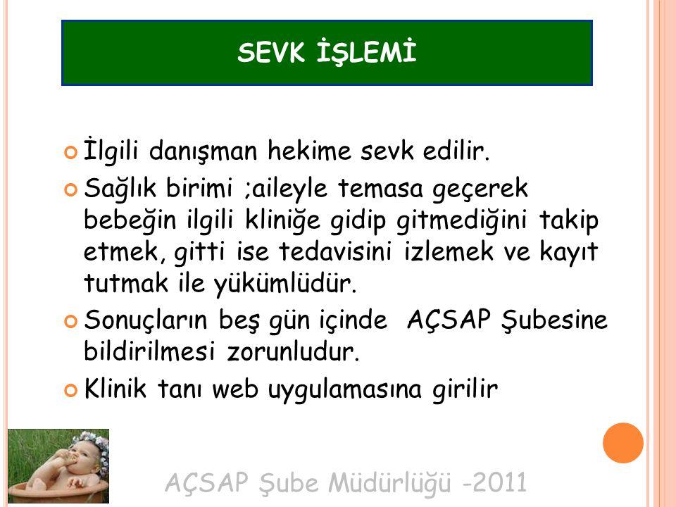 AÇSAP Şube Müdürlüğü -2011 İlgili danışman hekime sevk edilir.