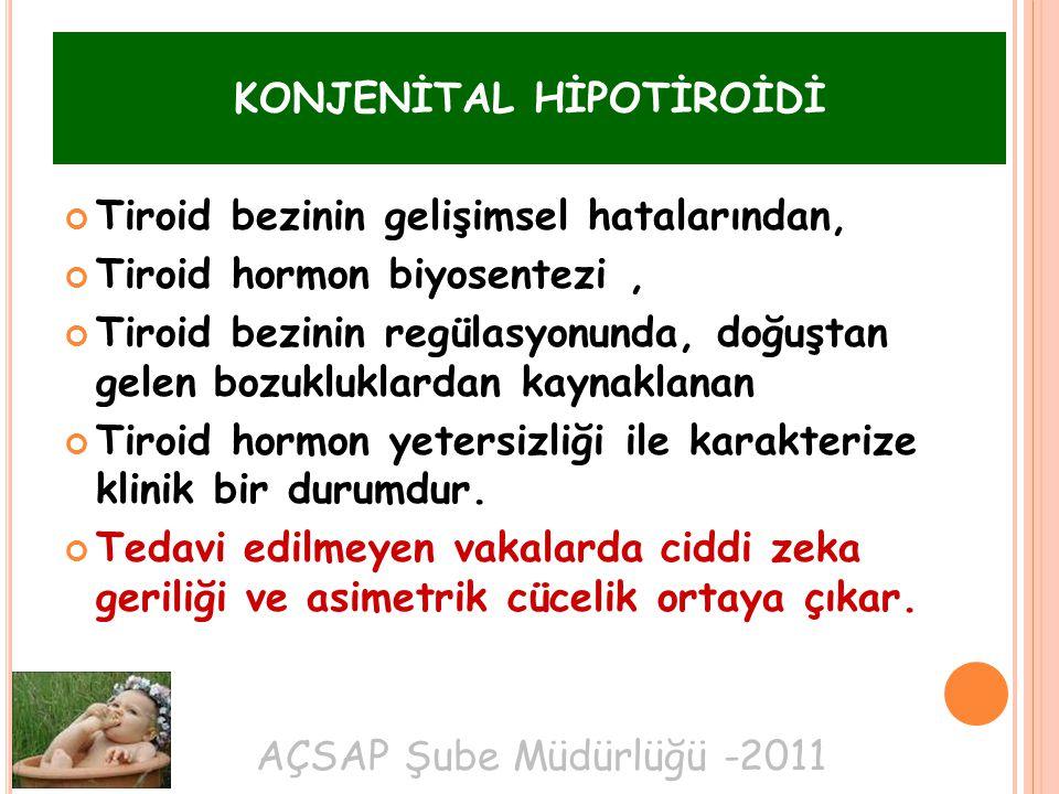 AÇSAP Şube Müdürlüğü -2011 KONJENİTAL HİPOTİROİDİ Tiroid bezinin gelişimsel hatalarından, Tiroid hormon biyosentezi, Tiroid bezinin regülasyonunda, doğuştan gelen bozukluklardan kaynaklanan Tiroid hormon yetersizliği ile karakterize klinik bir durumdur.